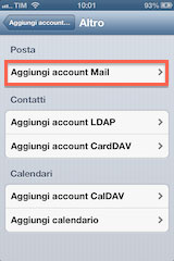Aggiungi account pec iphone e ipad